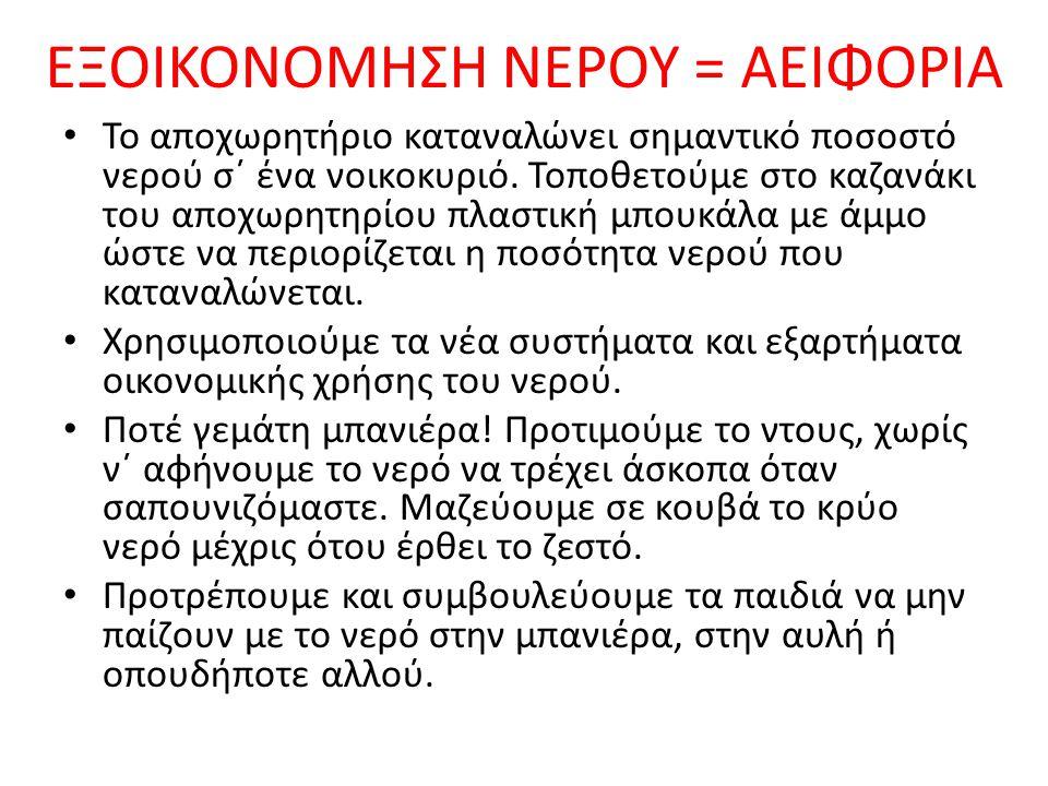 ΕΞΟΙΚΟΝΟΜΗΣΗ ΝΕΡΟΥ = ΑΕΙΦΟΡΙΑ