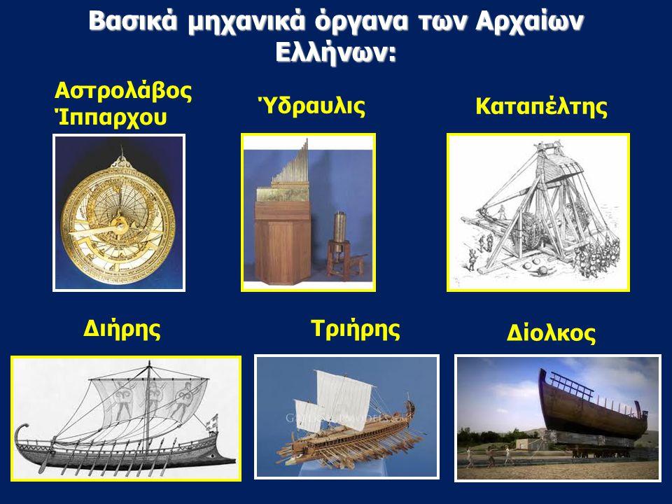 Βασικά μηχανικά όργανα των Αρχαίων Ελλήνων: