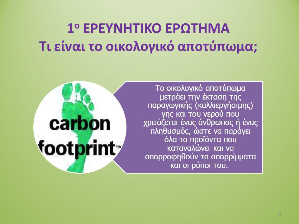 1ο ΕΡΕΥΝΗΤΙΚΟ ΕΡΩΤΗΜΑ Τι είναι το οικολογικό αποτύπωμα;