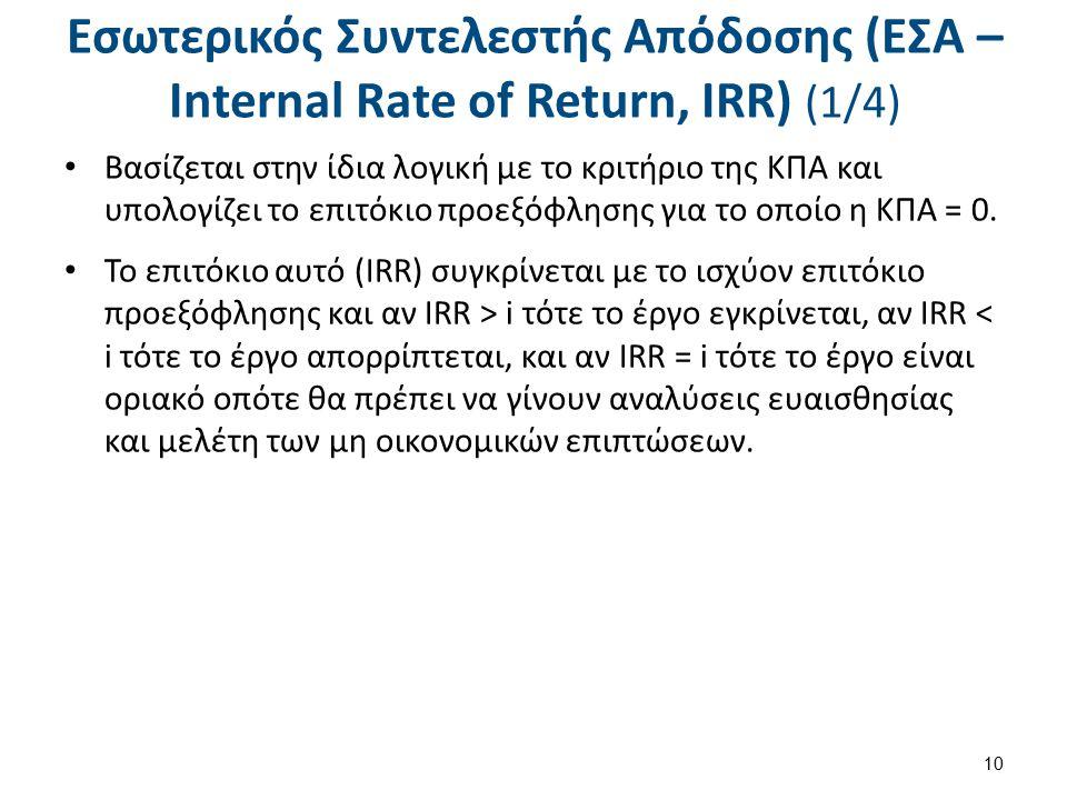 Εσωτερικός Συντελεστής Απόδοσης (ΕΣΑ – Internal Rate of Return, IRR) (2/4)