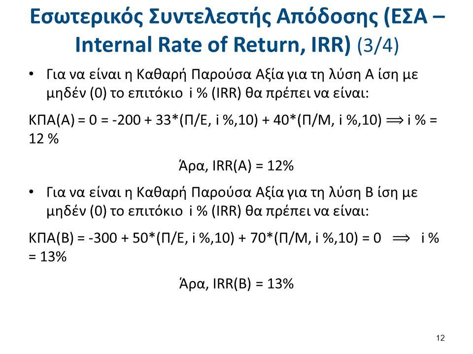 Εσωτερικός Συντελεστής Απόδοσης (ΕΣΑ – Internal Rate of Return, IRR) (4/4)