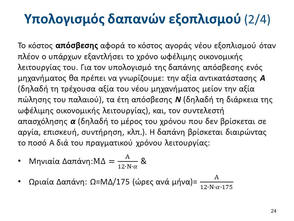 Υπολογισμός δαπανών εξοπλισμού (3/4)