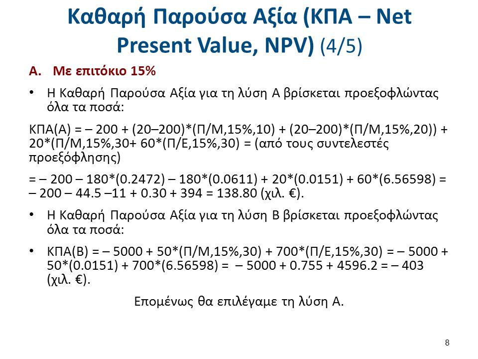 Καθαρή Παρούσα Αξία (ΚΠΑ – Net Present Value, NPV) (5/5)