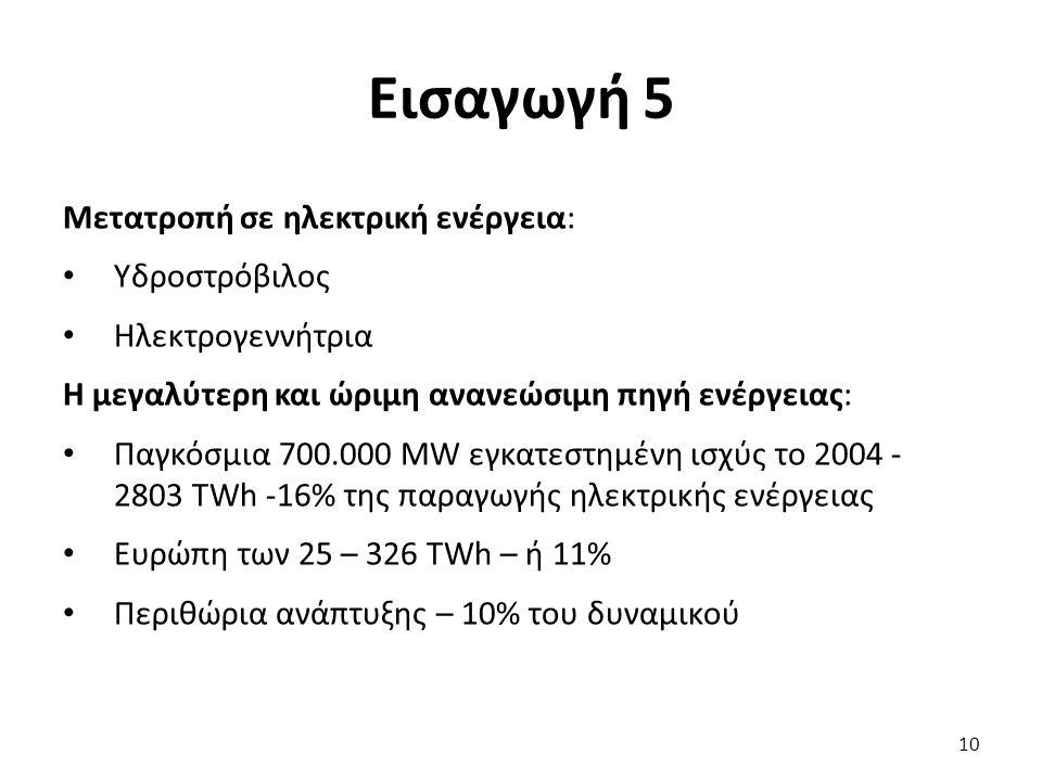 Εισαγωγή 5 Μετατροπή σε ηλεκτρική ενέργεια: Υδροστρόβιλος