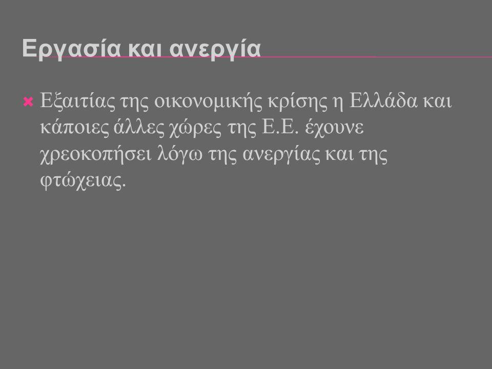 Εργασία και ανεργία Εξαιτίας της οικονομικής κρίσης η Ελλάδα και κάποιες άλλες χώρες της Ε.Ε.