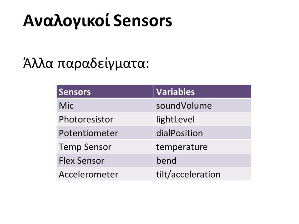 23 18/4/2017 Αναλογικοί Sensors Άλλα παραδείγματα: