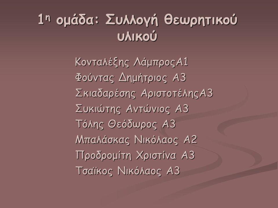 1η ομάδα: Συλλογή θεωρητικού υλικού