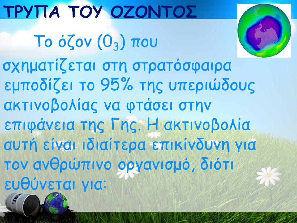 ΤΡΥΠΑ ΤΟΥ ΟΖΟΝΤΟΣ Το όζον (03) που.