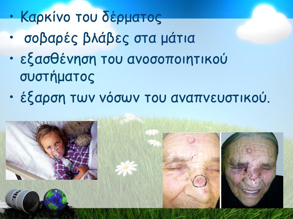 Καρκίνο του δέρματος σοβαρές βλάβες στα μάτια. εξασθένηση του ανοσοποιητικού συστήματος.