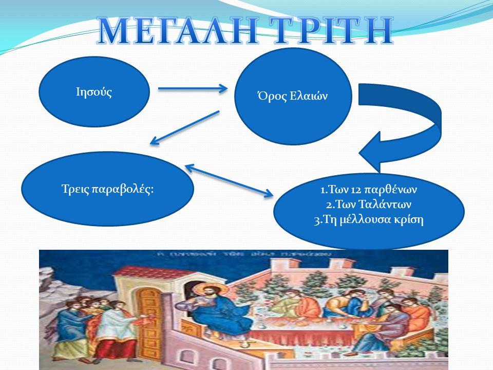 ΜΕΓΑΛΗ ΤΡΙΤΗ Όρος Ελαιών Ιησούς Τρεις παραβολές: 1.Των 12 παρθένων