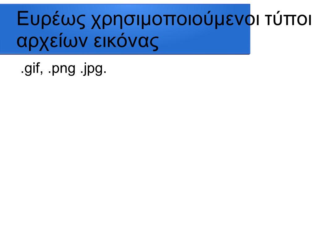 Ευρέως χρησιμοποιούμενοι τύποι αρχείων εικόνας