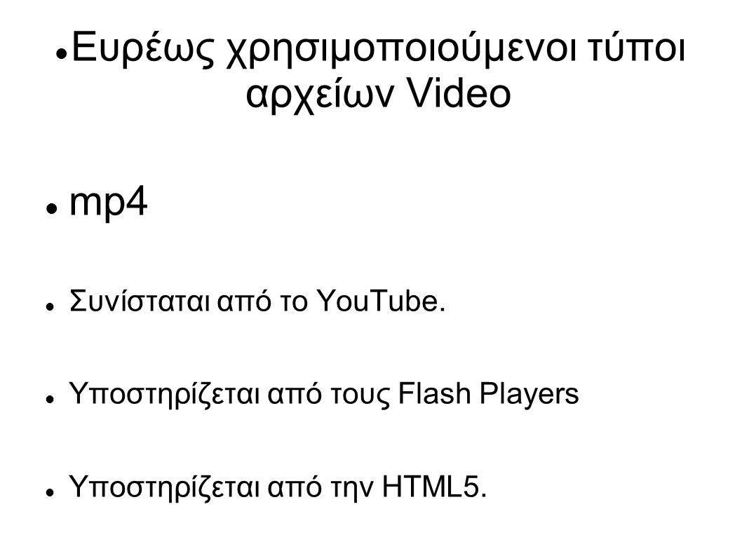 Ευρέως χρησιμοποιούμενοι τύποι αρχείων Video
