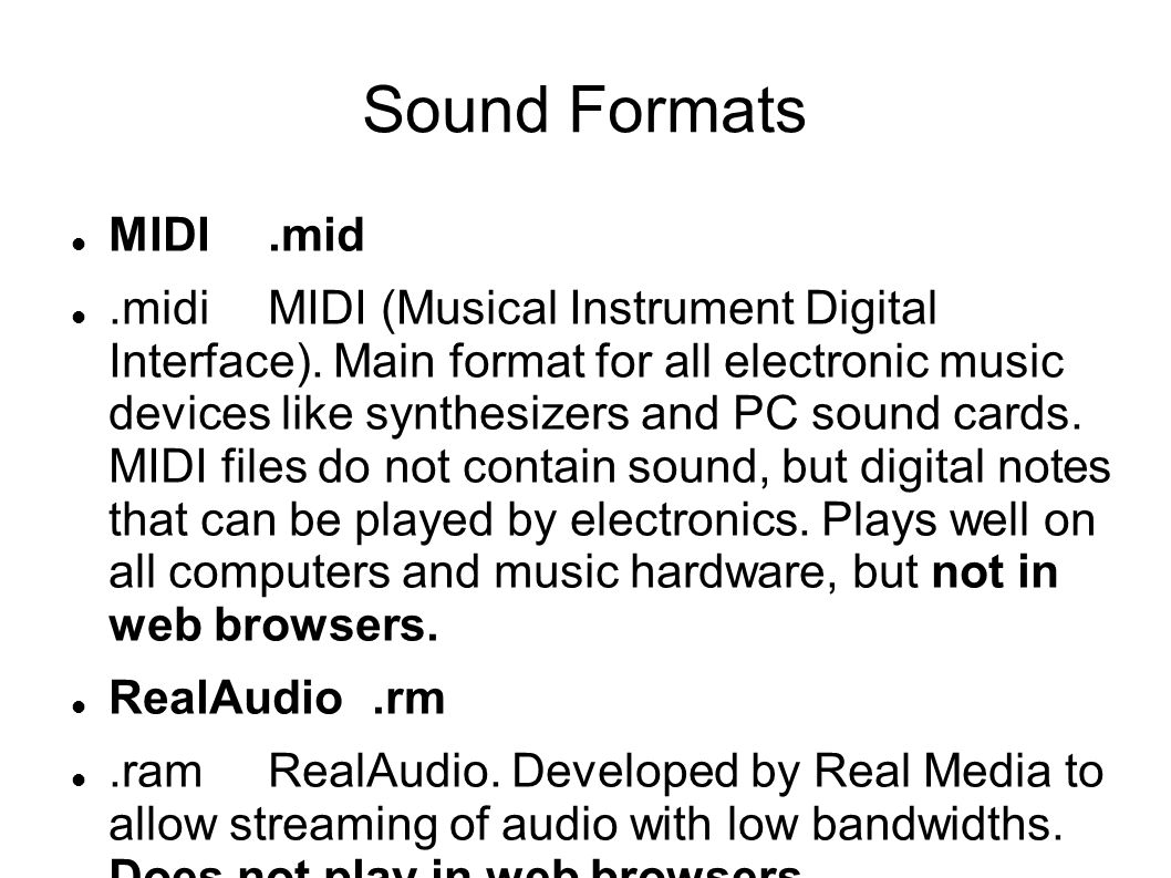 Sound Formats MIDI .mid.