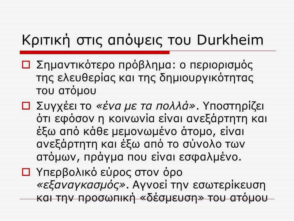 Κριτική στις απόψεις του Durkheim