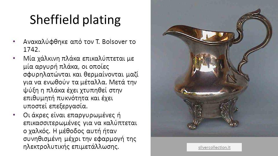 Sheffield plating Ανακαλύφθηκε από τον T. Bolsover το 1742.