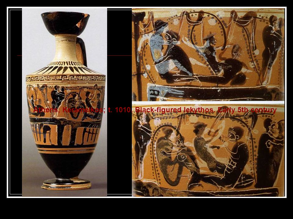 Athens, Kerameikos; t. 1010. Black-figured lekythos. Early 5th century