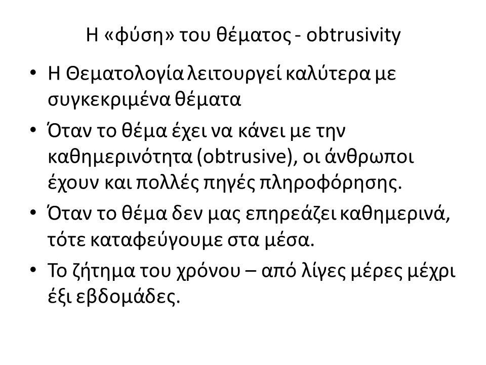 Η «φύση» του θέματος - obtrusivity