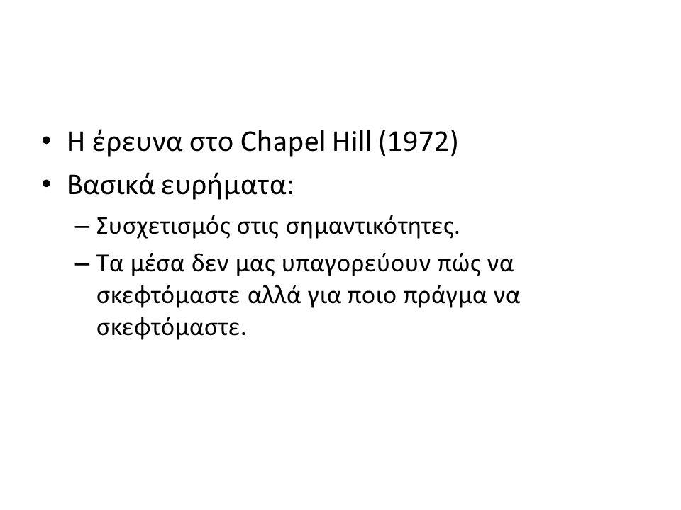 Η έρευνα στο Chapel Hill (1972) Βασικά ευρήματα: