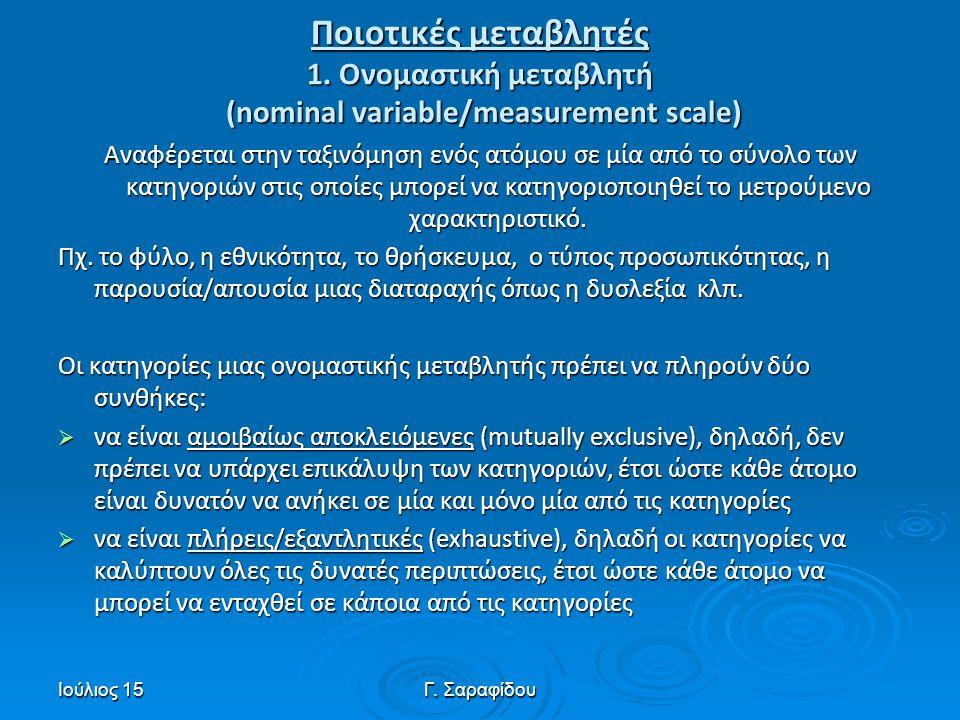 Ποιοτικές μεταβλητές 1. Ονομαστική μεταβλητή (nominal variable/measurement scale)