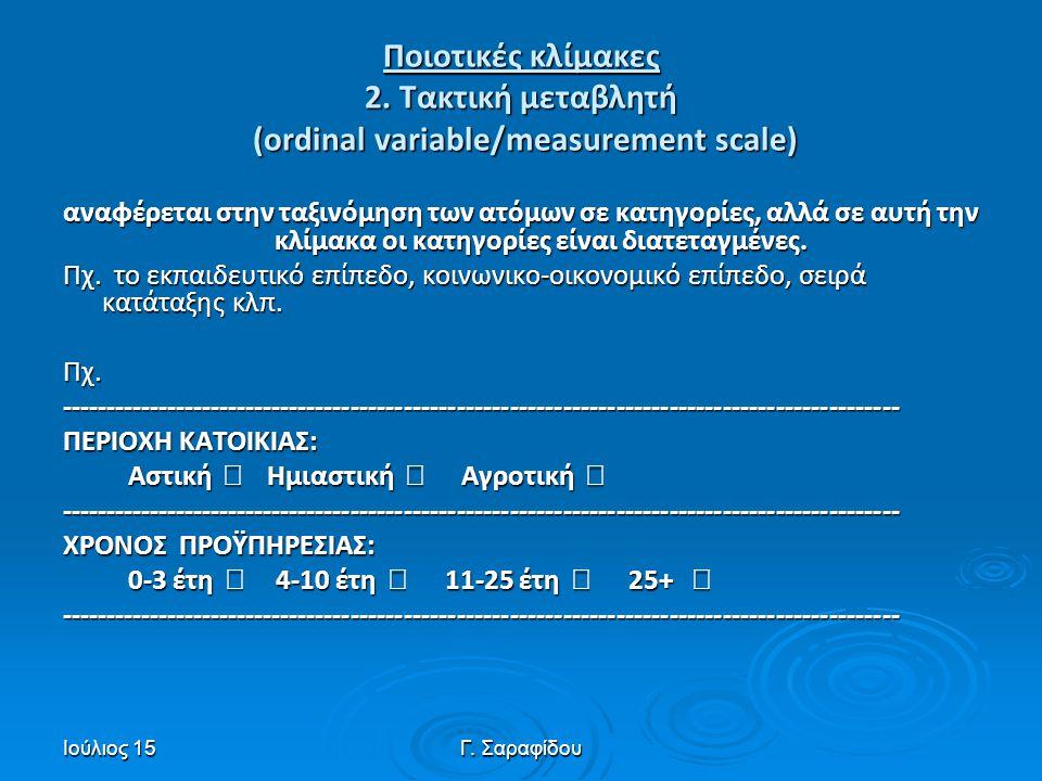 Ποιοτικές κλίμακες 2. Τακτική μεταβλητή (ordinal variable/measurement scale)