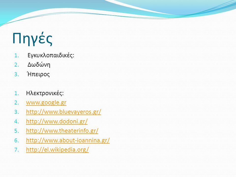 Πηγές Εγκυκλοπαιδικές: Δωδώνη Ήπειρος Ηλεκτρονικές: www.google.gr