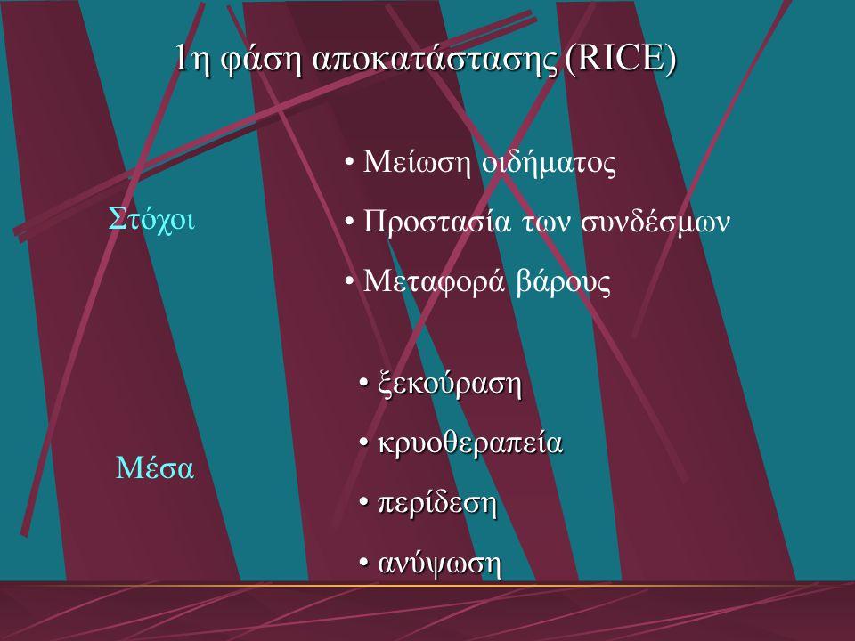 1η φάση αποκατάστασης (RICE)
