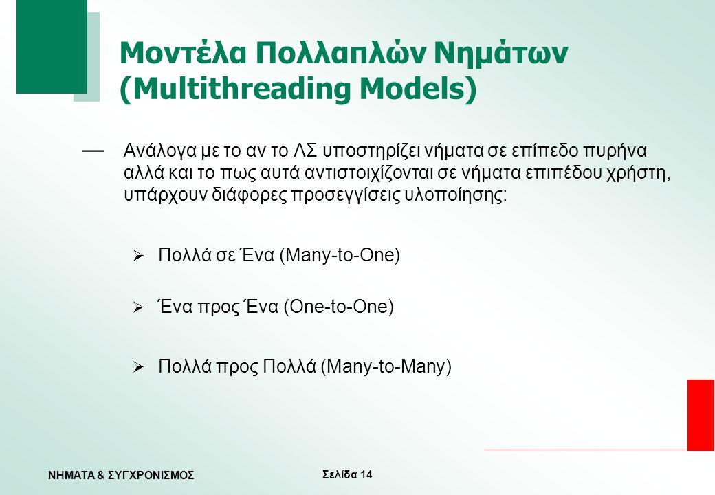 Μοντέλα Πολλαπλών Νημάτων (Multithreading Models)