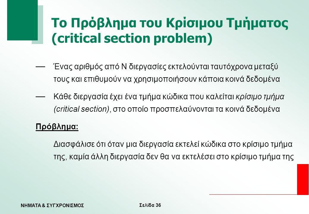 Το Πρόβλημα του Κρίσιμου Τμήματος (critical section problem)