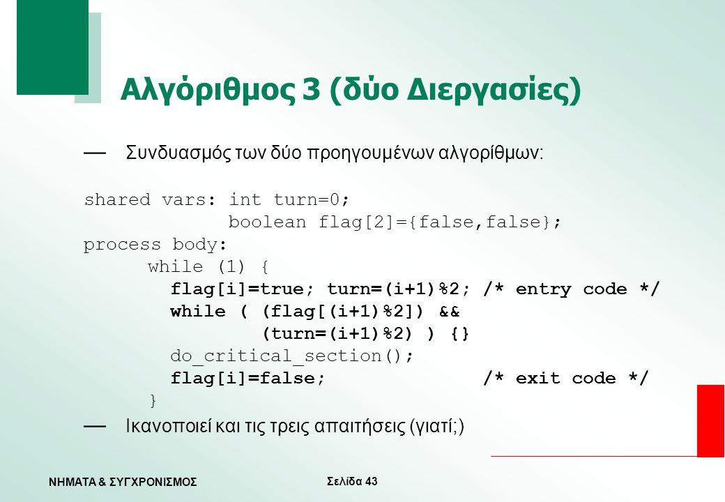 Αλγόριθμος 3 (δύο Διεργασίες)