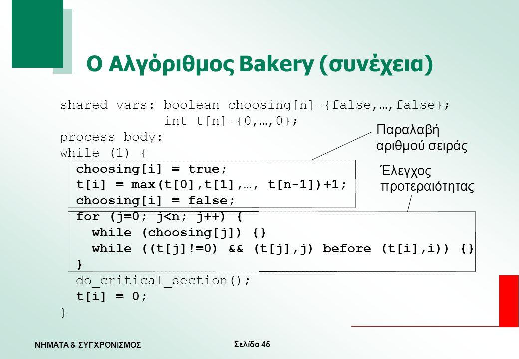 Ο Αλγόριθμος Bakery (συνέχεια)