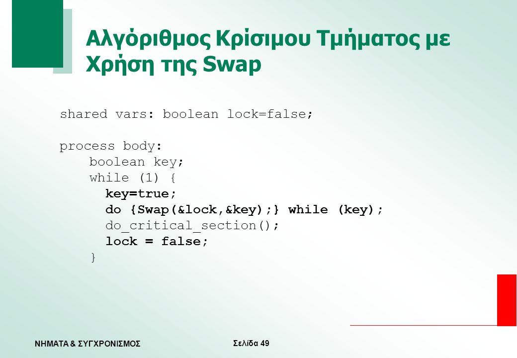 Αλγόριθμος Κρίσιμου Τμήματος με Χρήση της Swap