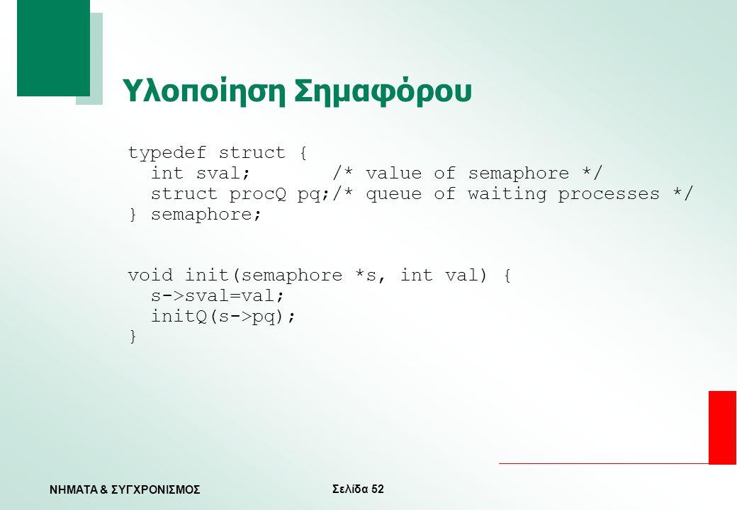 Υλοποίηση Σημαφόρου typedef struct {