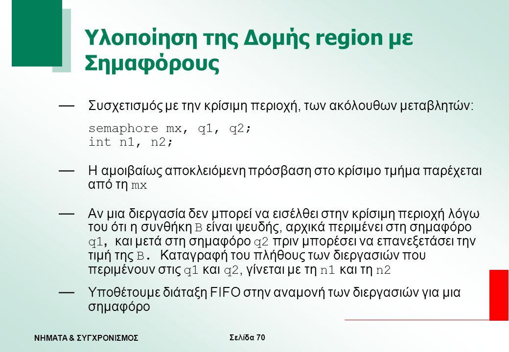 Υλοποίηση της Δομής region με Σημαφόρους
