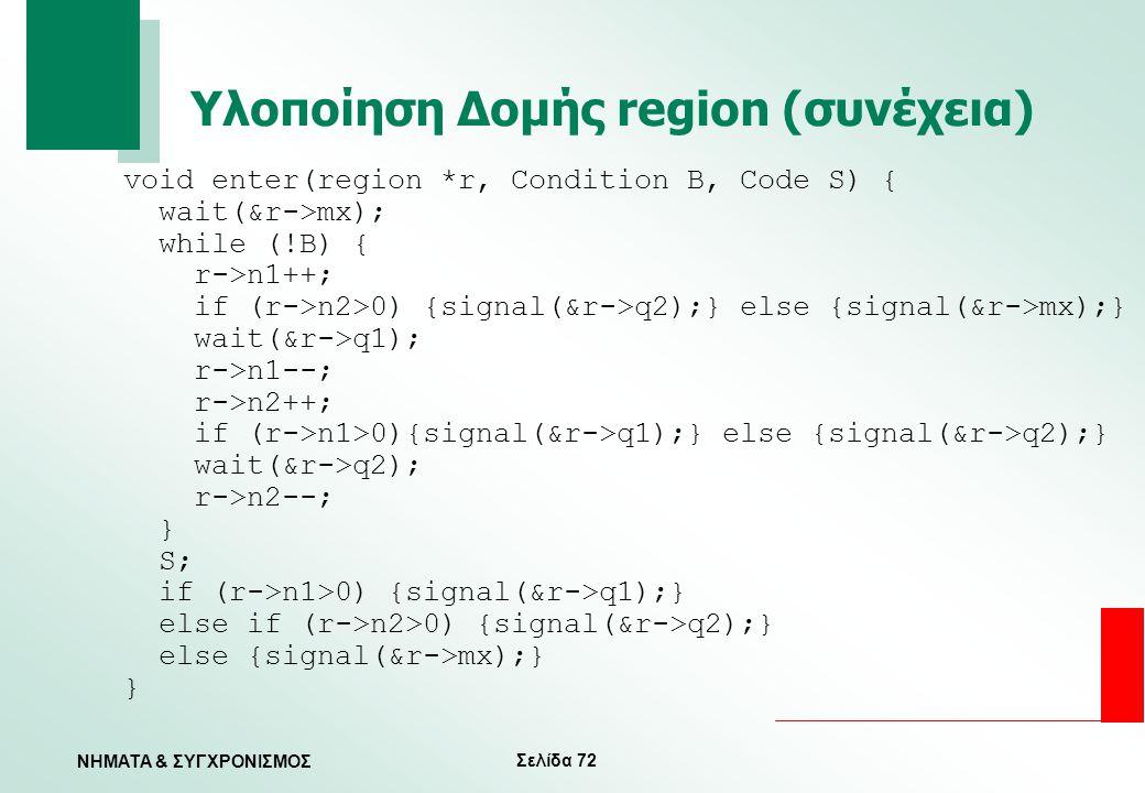 Υλοποίηση Δομής region (συνέχεια)