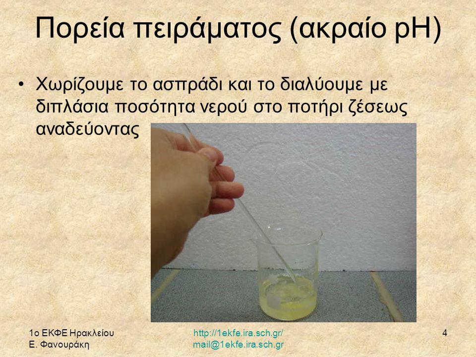 Πορεία πειράματος (ακραίο pH)