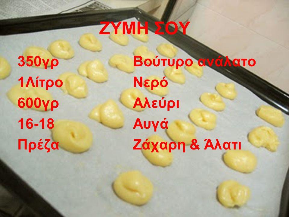 ΖΥΜΗ ΣΟΥ 350γρ Βούτυρο ανάλατο 1Λίτρο Νερό 600γρ Αλεύρι 16-18 Αυγά