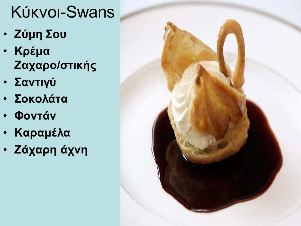 Κύκνοι-Swans Ζύμη Σου Κρέμα Ζαχαρο/στικής Σαντιγύ Σοκολάτα Φοντάν