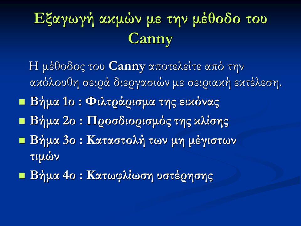 Εξαγωγή ακμών με την μέθοδο του Canny