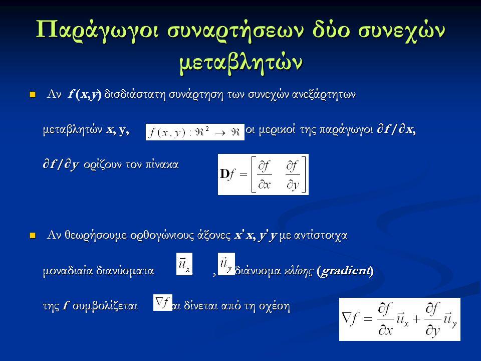 Παράγωγοι συναρτήσεων δύο συνεχών μεταβλητών
