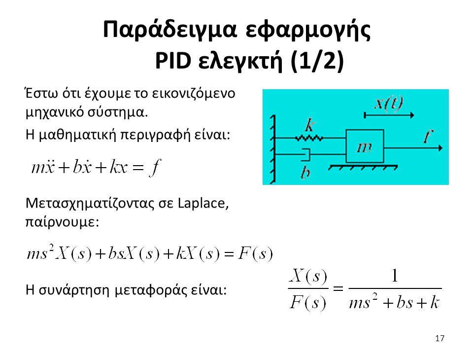 Παράδειγμα εφαρμογής PID ελεγκτή (1/2)