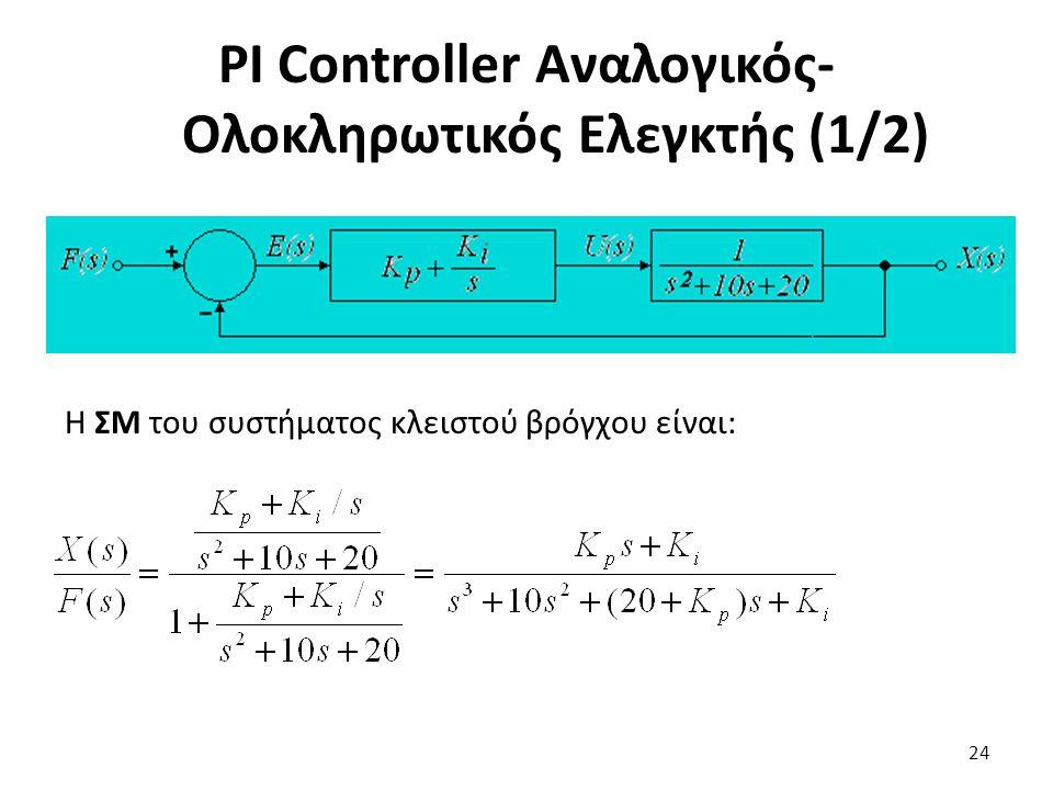 PI Controller Αναλογικός-Ολοκληρωτικός Ελεγκτής (1/2)