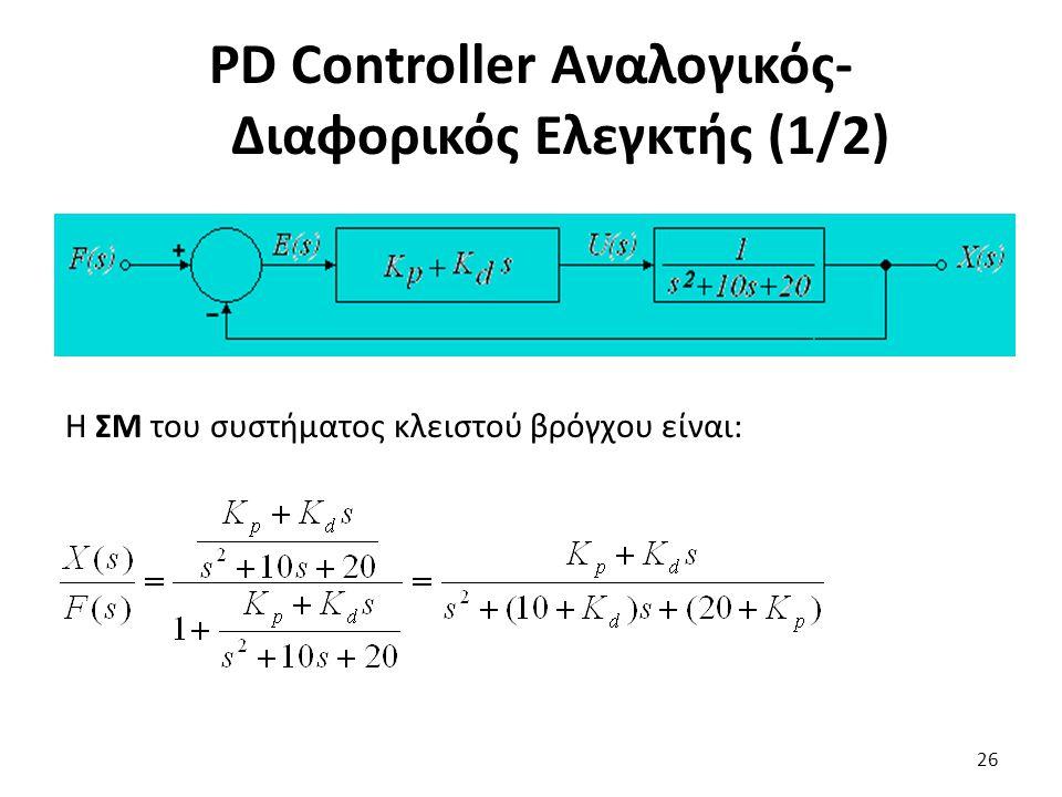 PD Controller Αναλογικός-Διαφορικός Ελεγκτής (1/2)