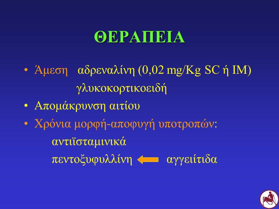 ΘΕΡΑΠΕΙΑ Άμεση αδρεναλίνη (0,02 mg/Kg SC ή IM) γλυκοκορτικοειδή