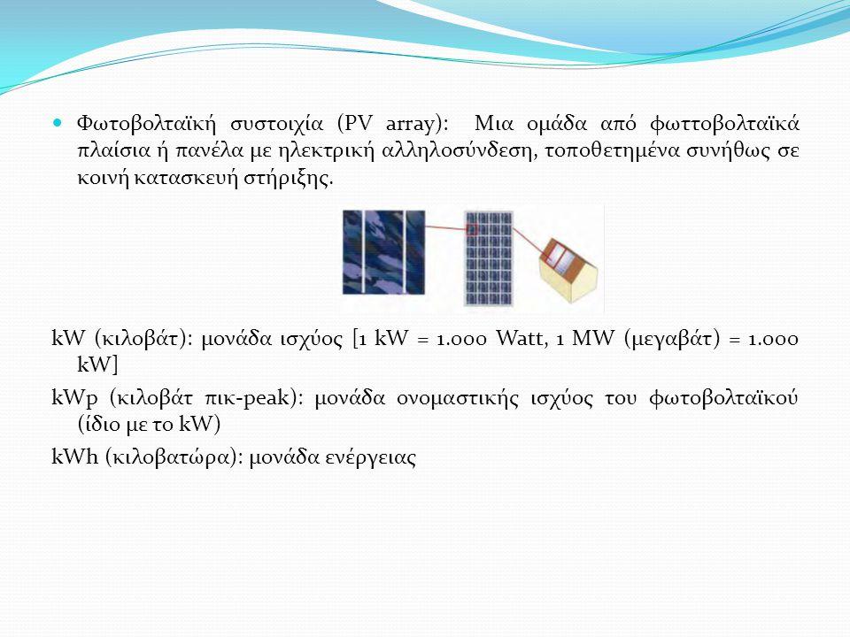 Φωτοβολταϊκή συστοιχία (PV array): Μια ομάδα από φωττοβολταϊκά πλαίσια ή πανέλα με ηλεκτρική αλληλοσύνδεση, τοποθετημένα συνήθως σε κοινή κατασκευή στήριξης.