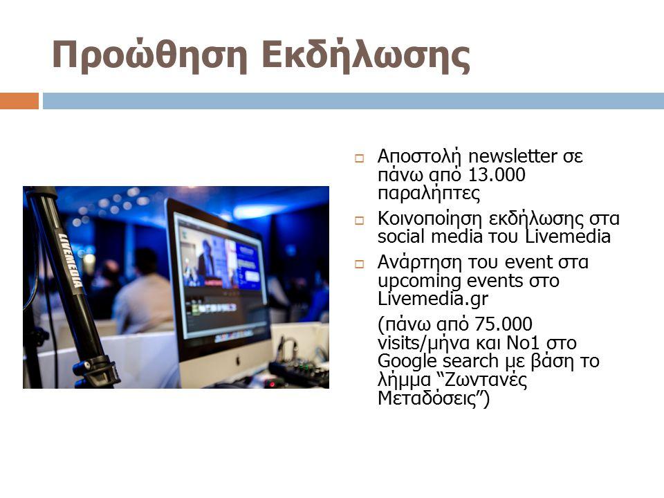 Προώθηση Εκδήλωσης Αποστολή newsletter σε πάνω από 13.000 παραλήπτες