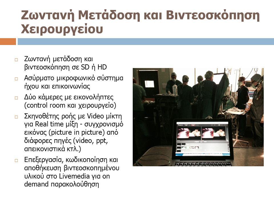 Ζωντανή Μετάδοση και Βιντεοσκόπηση Χειρουργείου