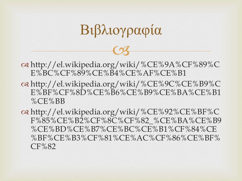 Βιβλιογραφία http://el.wikipedia.org/wiki/%CE%9A%CF%89%CE%BC%CF%89%CE%B4%CE%AF%CE%B1.