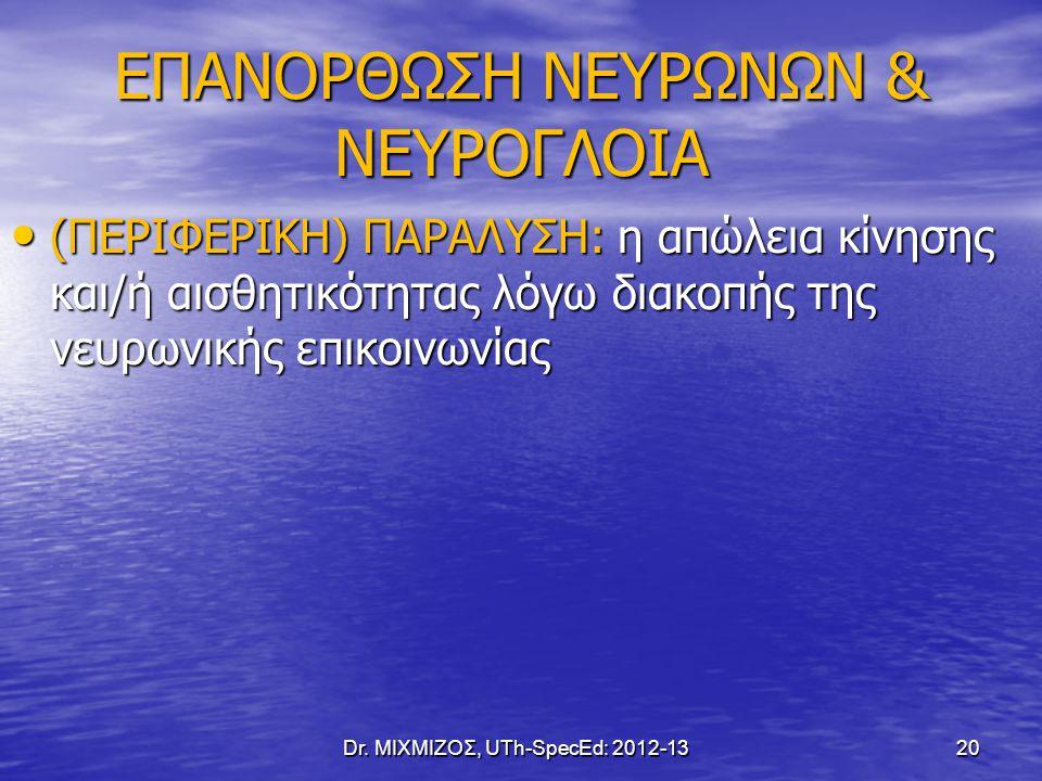 EΠΑΝΟΡΘΩΣΗ ΝΕΥΡΩΝΩΝ & ΝΕΥΡΟΓΛΟΙΑ