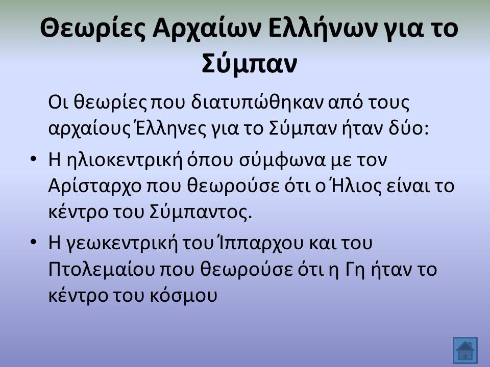 Θεωρίες Αρχαίων Ελλήνων για το Σύμπαν