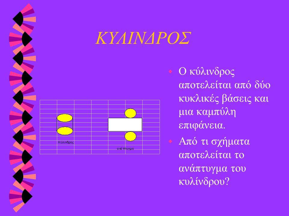 ΚΥΛΙΝΔΡΟΣ Ο κύλινδρος αποτελείται από δύο κυκλικές βάσεις και μια καμπύλη επιφάνεια.